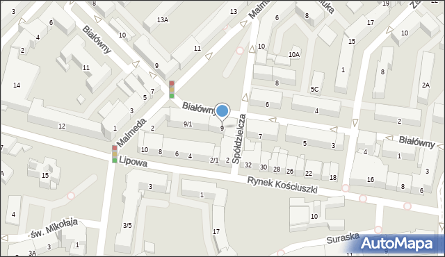 Białystok, Białówny Ireny, dr, 9, mapa Białegostoku