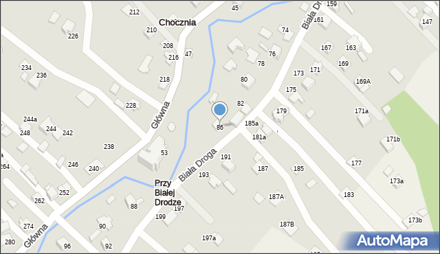 Chocznia, Biała Droga, 86, mapa Chocznia