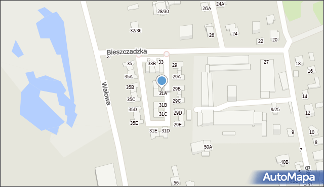 Częstochowa, Bieszczadzka, 31A, mapa Częstochowy