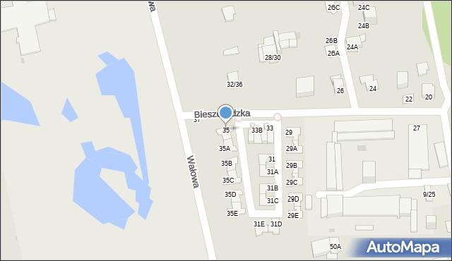 Częstochowa, Bieszczadzka, 35, mapa Częstochowy