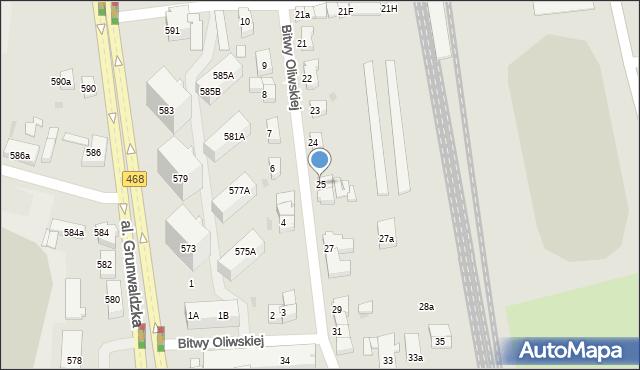 Gdańsk, Bitwy Oliwskiej, 25, mapa Gdańska