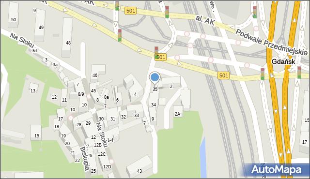 Gdańsk, Biskupia, 35, mapa Gdańska
