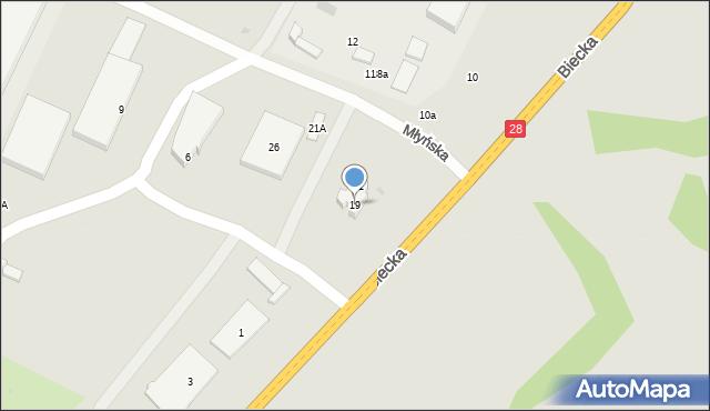 Gorlice, Biecka, 19, mapa Gorlic