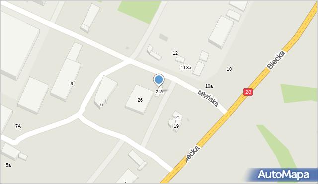 Gorlice, Biecka, 21A, mapa Gorlic