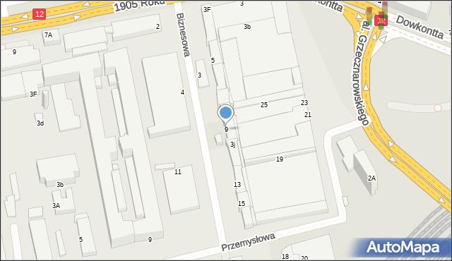 Radom, Biznesowa, 9, mapa Radomia
