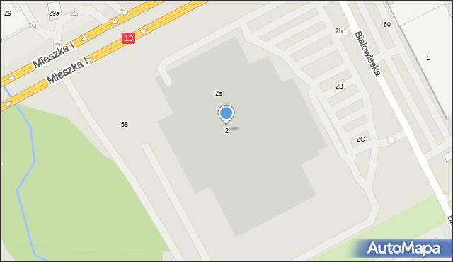 Szczecin, Białowieska, 2, mapa Szczecina