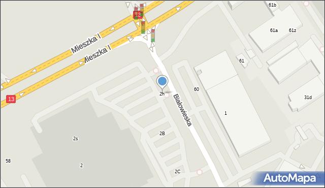 Szczecin, Białowieska, 2h, mapa Szczecina