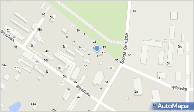 Toruń, Bielańska, 1, mapa Torunia