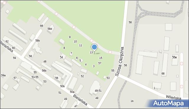 Toruń, Bielańska, 14, mapa Torunia