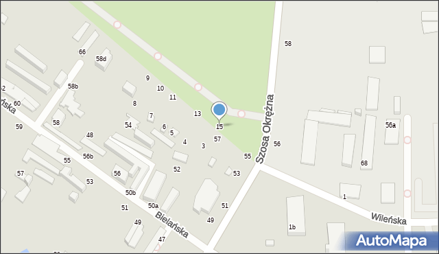 Toruń, Bielańska, 17, mapa Torunia