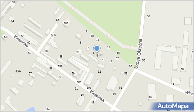 Toruń, Bielańska, 5, mapa Torunia