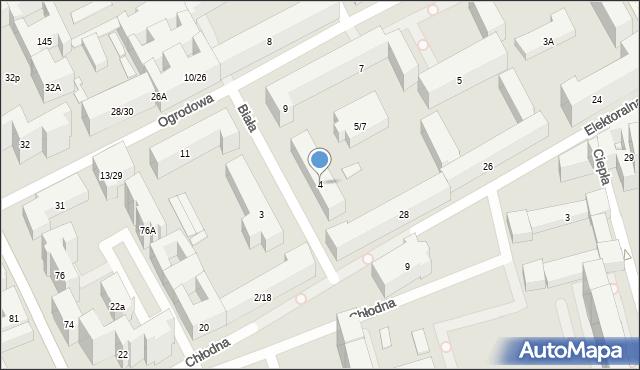 Warszawa, Biała, 4, mapa Warszawy