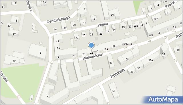 Warszawa, Bieniewicka, 22, mapa Warszawy