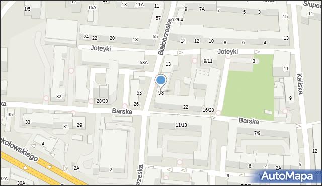 Warszawa, Białobrzeska, 58, mapa Warszawy