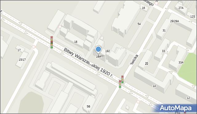 Warszawa, Bitwy Warszawskiej 1920 r., 16A, mapa Warszawy
