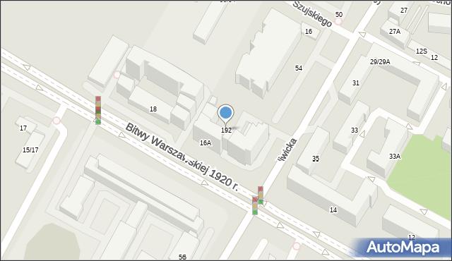 Warszawa, Bitwy Warszawskiej 1920 r., 192, mapa Warszawy