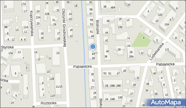 Warszawa, Biskupia, 43, mapa Warszawy