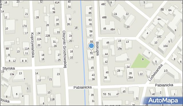 Warszawa, Biskupia, 51, mapa Warszawy