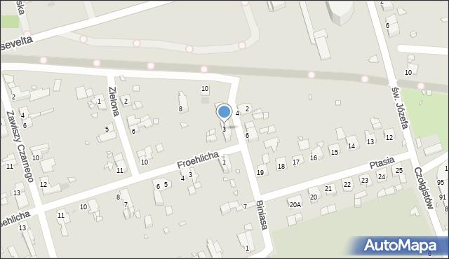 Zabrze, Biniasa Pawła, 3, mapa Zabrza