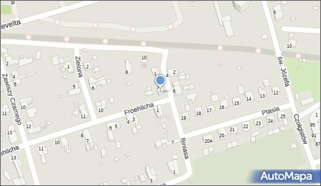 Zabrze, Biniasa Pawła, 5, mapa Zabrza