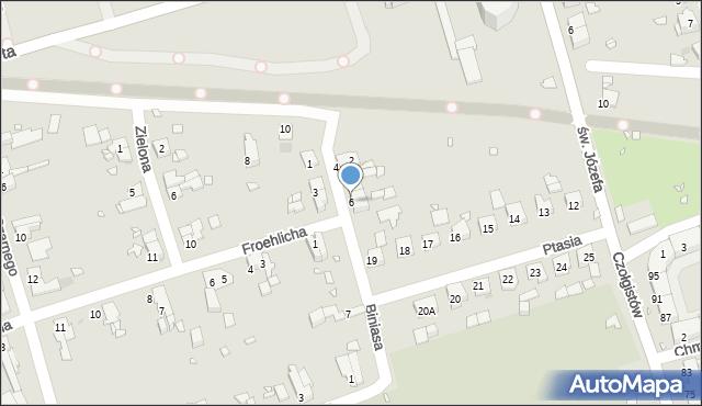 Zabrze, Biniasa Pawła, 6, mapa Zabrza