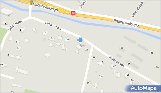 Grudziądz, Bluszczowa, 14, mapa Grudziądza