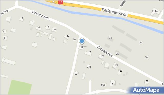 Grudziądz, Bluszczowa, 18, mapa Grudziądza