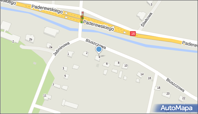 Grudziądz, Bluszczowa, 4, mapa Grudziądza
