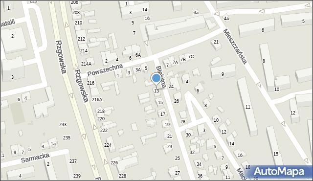 Łódź, Błękitna, 13, mapa Łodzi