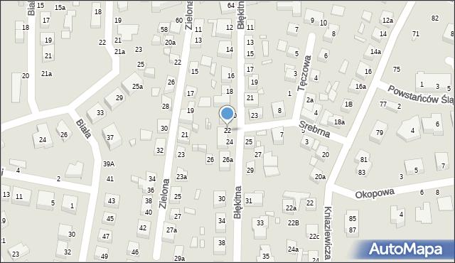 Toruń, Błękitna, 22, mapa Torunia