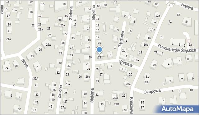 Toruń, Błękitna, 23, mapa Torunia