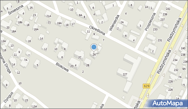 Warszawa, Blokowa, 2A, mapa Warszawy