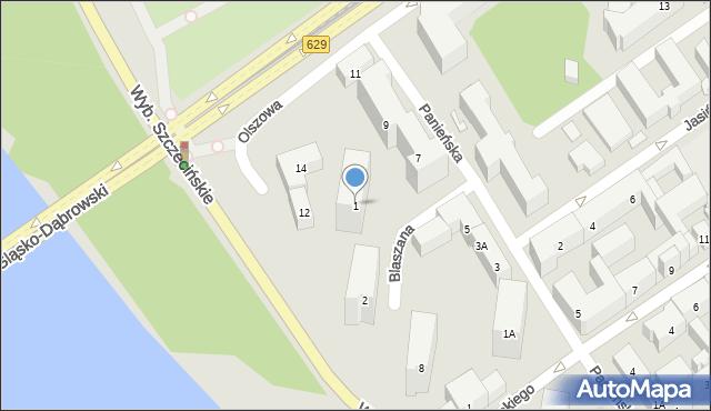 Warszawa, Blaszana, 1, mapa Warszawy