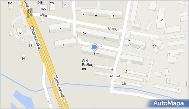 Bytom, Bożka Arki, 8, mapa Bytomia