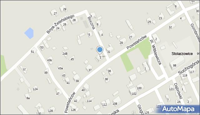 Bytom, Boczna, 1, mapa Bytomia