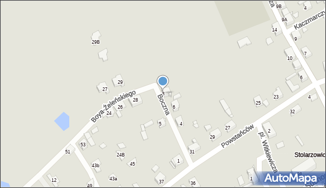 Bytom, Boczna, 8, mapa Bytomia