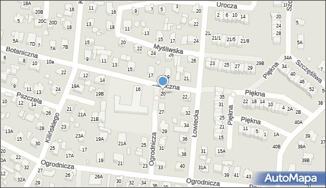 Chełm, Botaniczna, 20, mapa Chełma