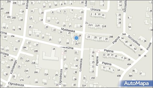 Chełm, Botaniczna, 21, mapa Chełma