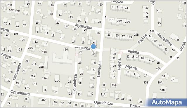 Chełm, Botaniczna, 22, mapa Chełma