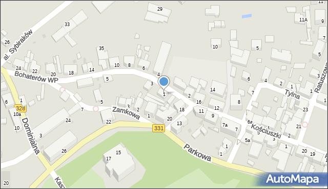 Chocianów, Bohaterów Wojska Polskiego, 1, mapa Chocianów