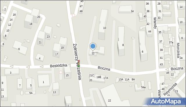Chorzów, Boczna, 12, mapa Chorzów