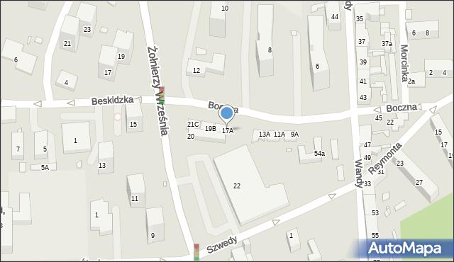 Chorzów, Boczna, 17A, mapa Chorzów