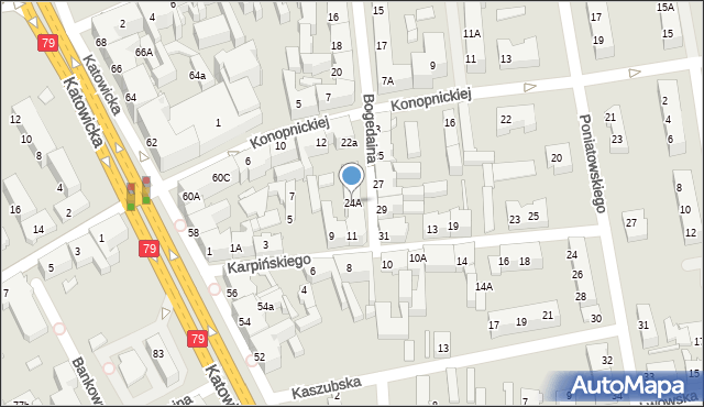 Chorzów, Bogedaina Bernarda, ks. bp., 24A, mapa Chorzów