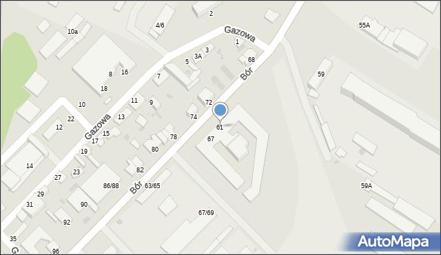 Częstochowa, Bór, 61, mapa Częstochowy