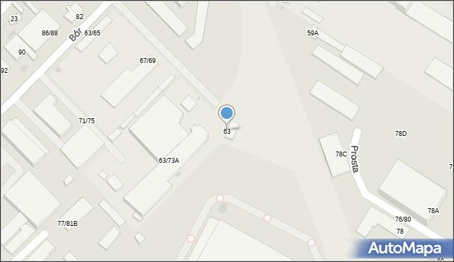 Częstochowa, Bór, 63, mapa Częstochowy