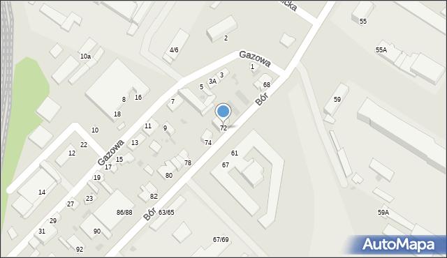 Częstochowa, Bór, 72, mapa Częstochowy