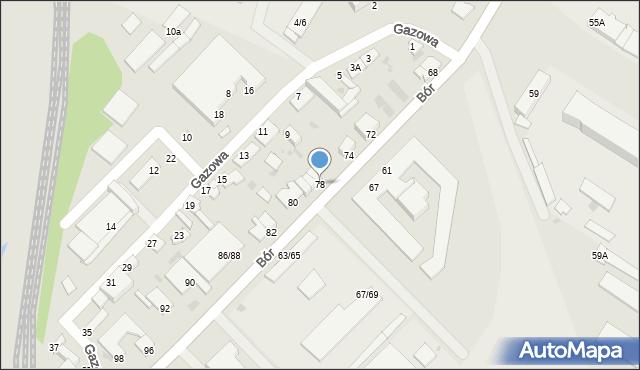Częstochowa, Bór, 78, mapa Częstochowy