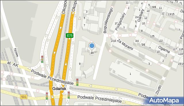Gdańsk, Bogusławskiego Wojciecha, 4A, mapa Gdańska