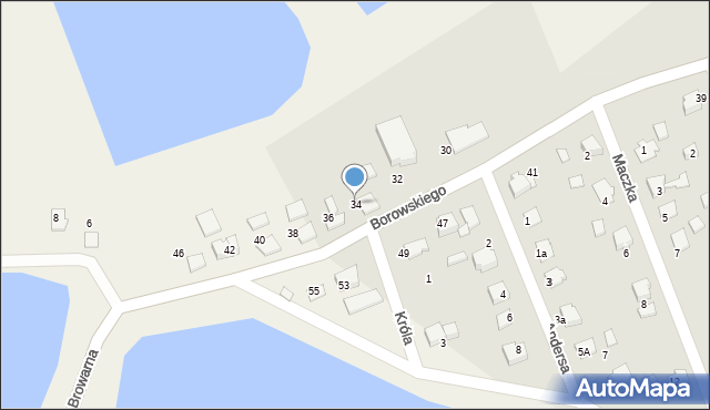 Harmęże, Borowskiego, 34, mapa Harmęże