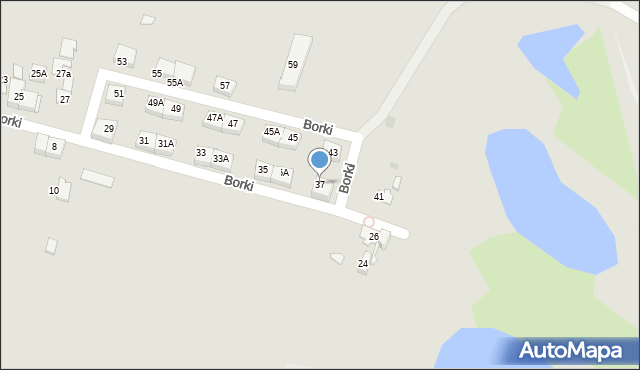 Katowice, Borki, 37, mapa Katowic